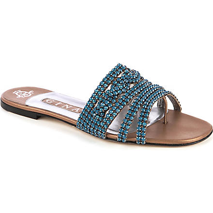 GINA Swarovski embellished flat sandals (Taupe