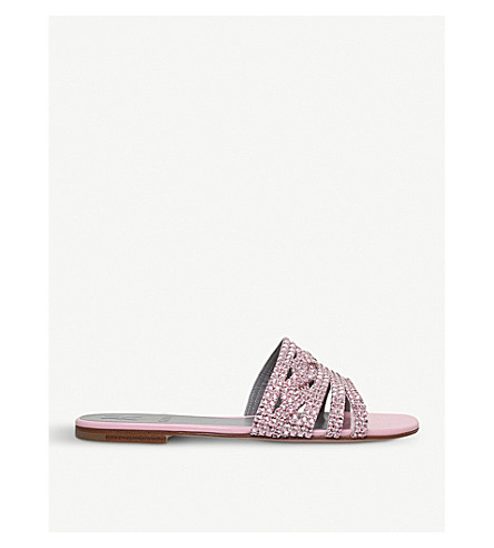 GINA Loren leather and Swarovski sandals (Pale+pink