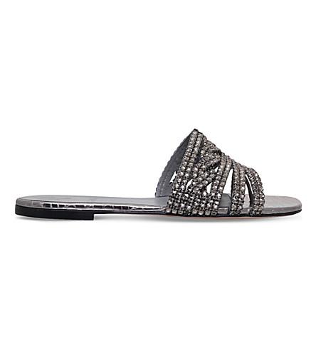 GINA Loren embellished leather sandals (Gunmetal