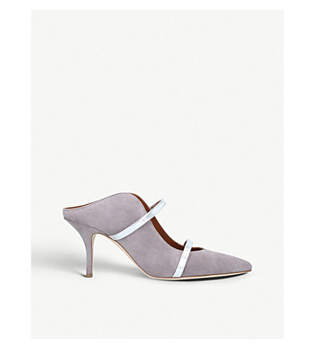 MALONE SOULIERS Maureen 70 suede mules (Silver com