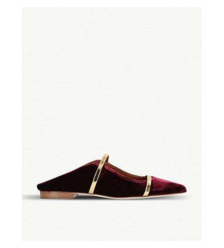 MALONE SOULIERS莫林天鹅绒平底鞋 (红色/黑色