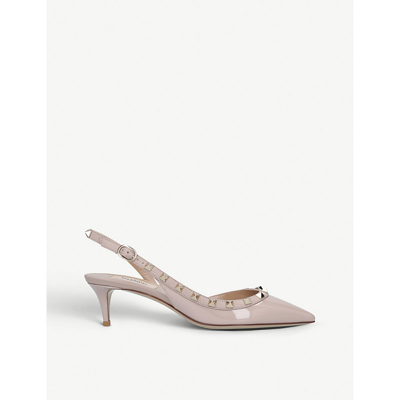 Rockstud patent-leather slingback courts