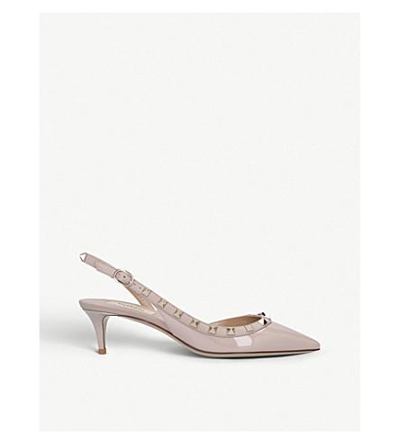 VALENTINO Rockstud 专利皮革 slingback 宫廷鞋 (裸