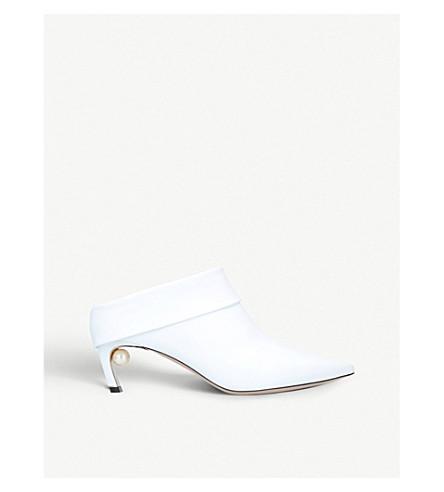 NICHOLAS KIRKWOOD 美珠珍珠装饰皮革骡子靴子 (白色