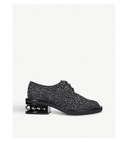 NICHOLAS KIRKWOOD Suzi glittered leather and cotton-blend derby shoes (Black