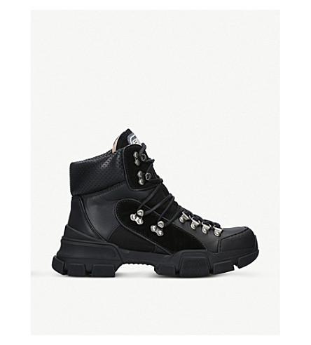 GUCCI 旅行皮革和帆布靴子 (黑色