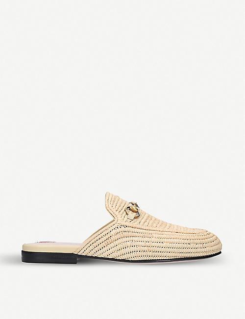 843c888601f GUCCI - Princetown raffia backless loafers