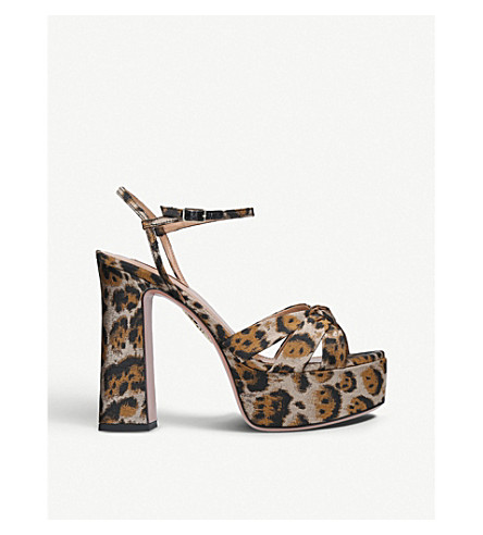 AQUAZZURA Baba Plateau jacquard platform sandals (Camel