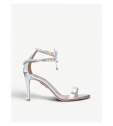 AQUAZZURA Crillon crystal-embellished metallic leather heeled sandals (Silver