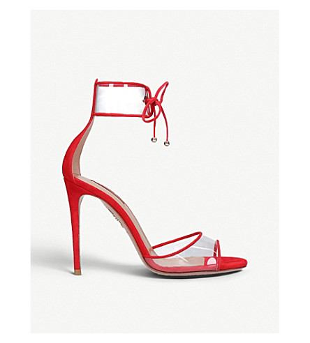 Optic suede and PVC heeled sandals