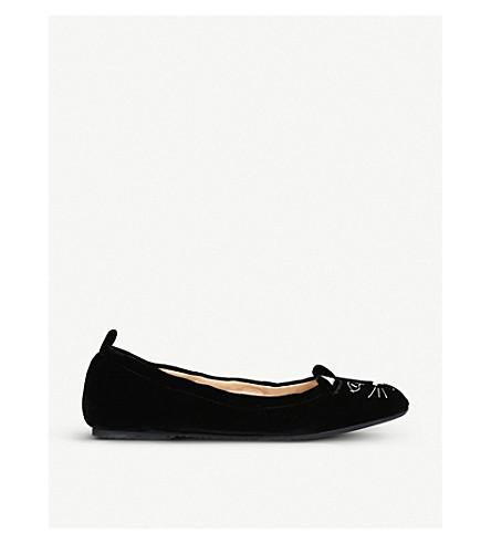 CHARLOTTE OLYMPIA Kitty Ballerina embroidered velvet pumps (Black