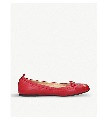 CHARLOTTE OLYMPIA Kitty Ballerina embroidered leather pumps (Red