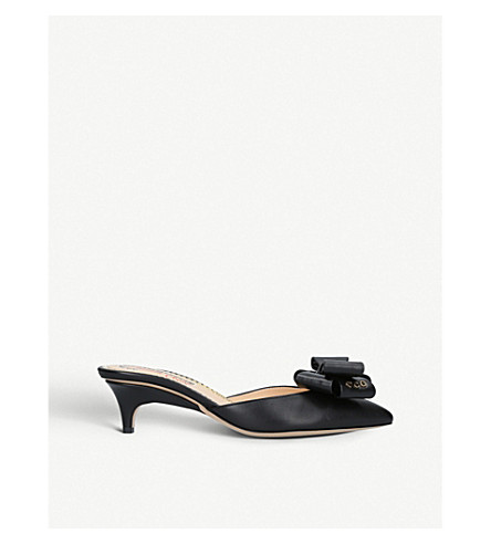 CHARLOTTE OLYMPIA BOW-FRONT LEATHER KITTEN-HEEL MULES
