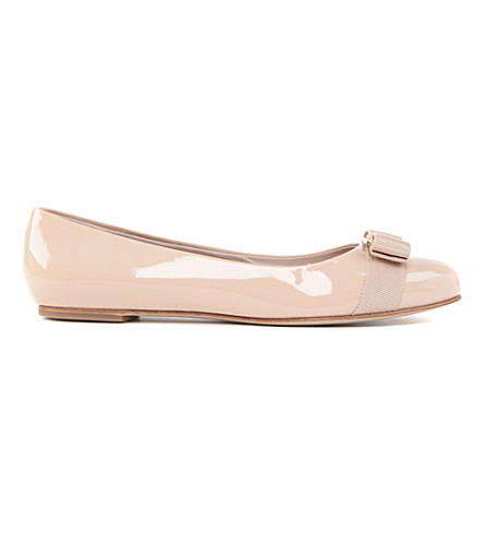 589400b010ff ... SALVATORE FERRAGAMO Varina patent-leather ballet flats (Nude.  PreviousNext
