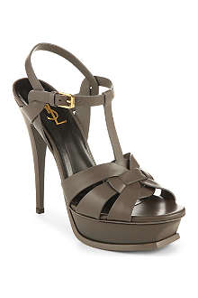 SAINT LAURENT Classic tribute sandals in earth patent leather