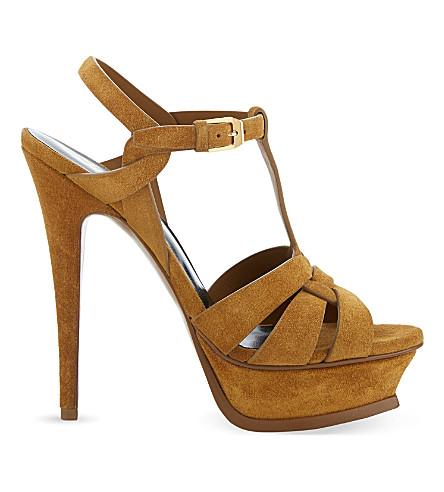 SAINT LAURENT Tribute 105 suede heeled sandals (Tan