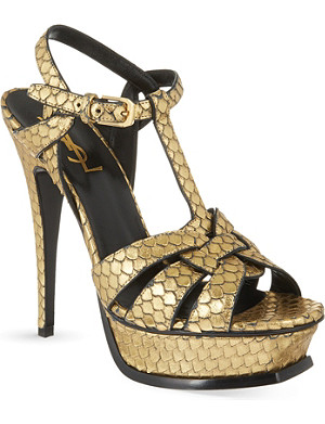 SAINT LAURENT Classic tribute sandals in embossed metallic leather