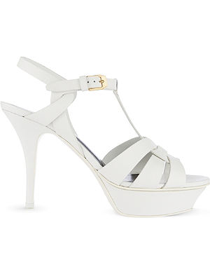SAINT LAURENT Classic tribute sandals in dove white leather