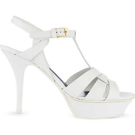 SAINT LAURENT Classic tribute sandals in dove white leather (White