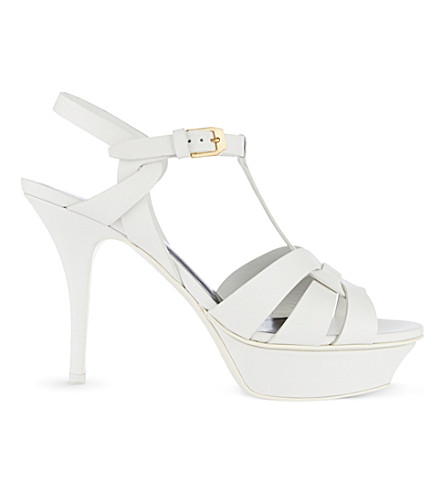 SAINT LAURENT Classic tribute sandals in dove white leather (White