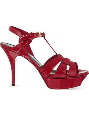SAINT LAURENT Classic Tribute sandals in dark red patent leather