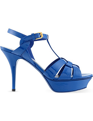 SAINT LAURENT Classic tribute sandals in blue patent leather