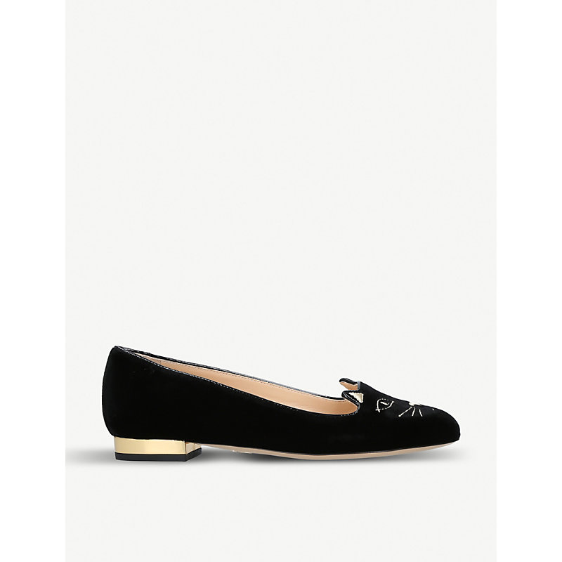 CHARLOTTE OLYMPIA KITTY SUEDE SLIPPERS