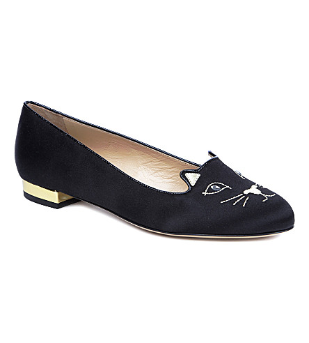 CHARLOTTE OLYMPIA Kitty velvet pumps (Blk/other