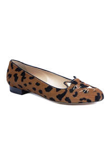 CHARLOTTE OLYMPIA Kitty leopard-print pumps