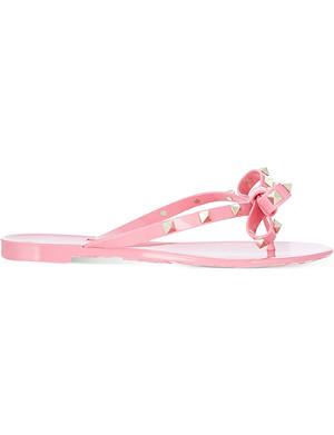 VALENTINO Rockstud studded bow flip-flops