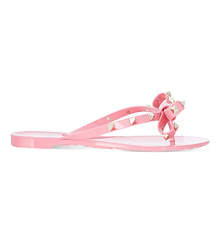 valentino rockstud studded bow flip flops. Black Bedroom Furniture Sets. Home Design Ideas