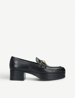 Houdan leather platform loafers