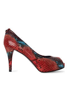 STUART WEITZMAN Sierra mock-snake peep-toe court shoes