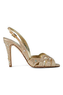 GINA Quincey Swarovski leather slingback sandals