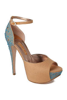 GINA Destiny satin and canvas platform sandals