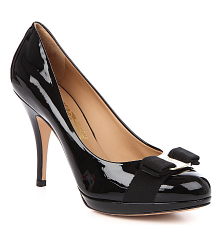 SALVATORE FERRAGAMO Tina patent court shoes (Black
