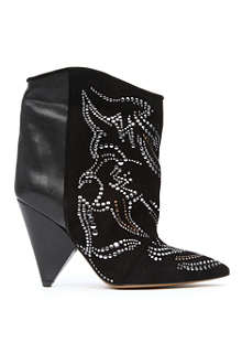 ISABEL MARANT Memphis studded leather and suede ankle boots