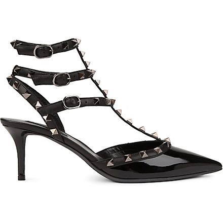 VALENTINO Studded patent court shoes (Black