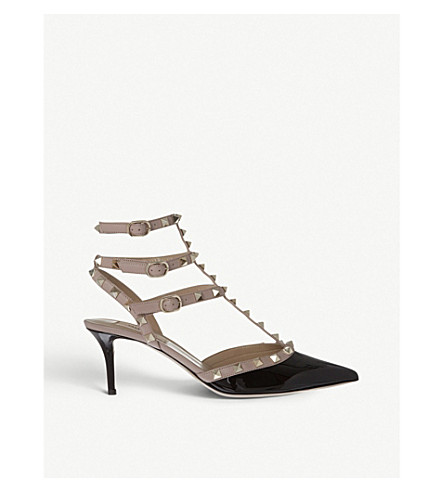 VALENTINO So Noir 65 patent-leather heeled sandals (Blk/beige