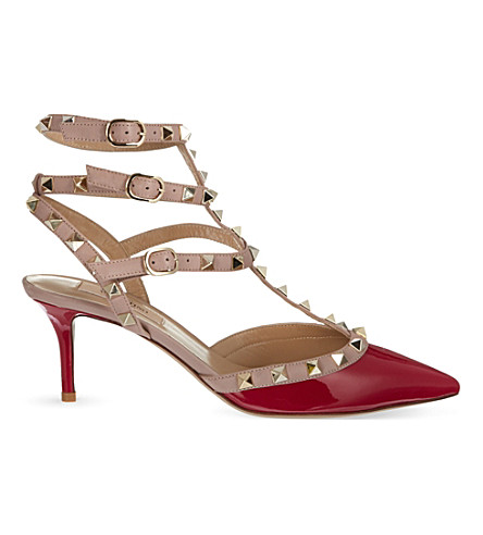 VALENTINO Rockstud patent leather courts (Fushia
