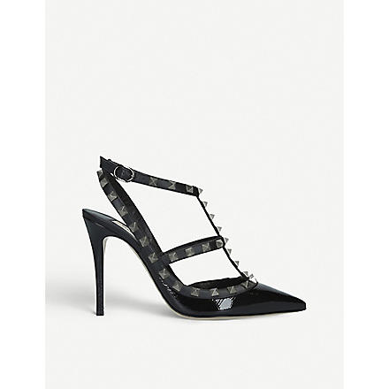 VALENTINO Rockstud patent leather heels (Black