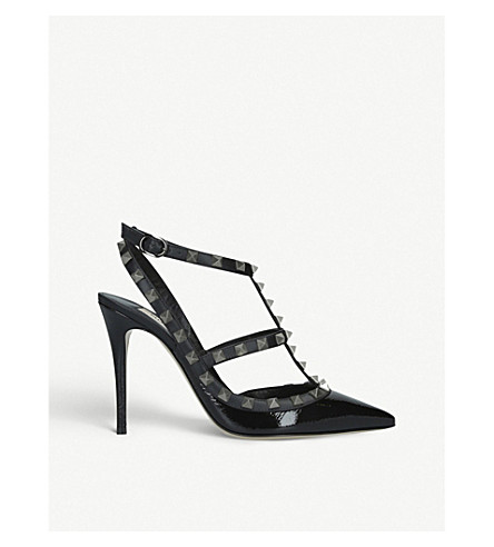 VALENTINO Rockstud 100 专利-皮革宫廷鞋 (黑