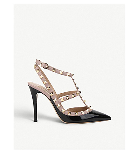 VALENTINO Rockstud 100 leather courts (Blk/beige