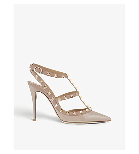 VALENTINO Rockstud patent leather heels (Nude