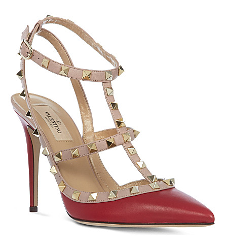 VALENTINO Rockstud leather heels (Red