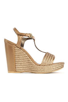 STUART WEITZMAN Matey raffia and leather wedge sandals