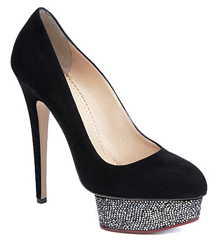 CHARLOTTE OLYMPIA Dolly Swarovski suede courts (Black