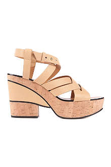 CHLOE Victoria leather and cork platform sandals