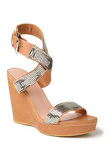 STUART WEITZMAN Metalmania leather wedge sandals