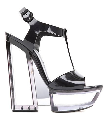 CASADEI Carnation patent-leather platform sandals (Black
